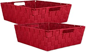 """DII Durable Trapezoid Woven Nylon Storage Bin or Basket for Organizing Your Home, Office, or Closets (Tray - 13x15x5"""") Red - Set of 2"""
