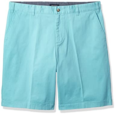 1da18c17 Nautica Men's Big and Tall Classic Fit Flat Front Stretch Solid Chino Deck  Short, Aqua