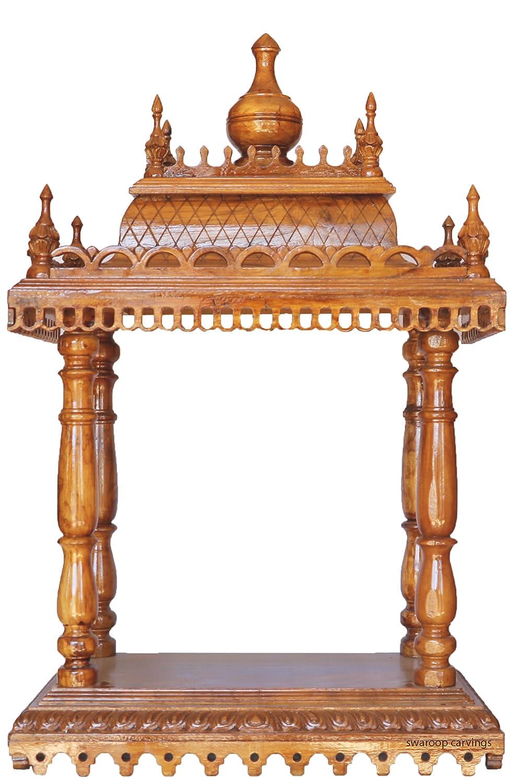 Buy Handcrafted Teak Wood Pooja Mantap / Mandir/ Home Temple Online ...