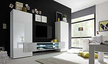 Wohnwand holz weiß  INCASTRO 709033B Wohnwand TV Möbel, Holz, weiß, 258 x 37 x 144 cm ...