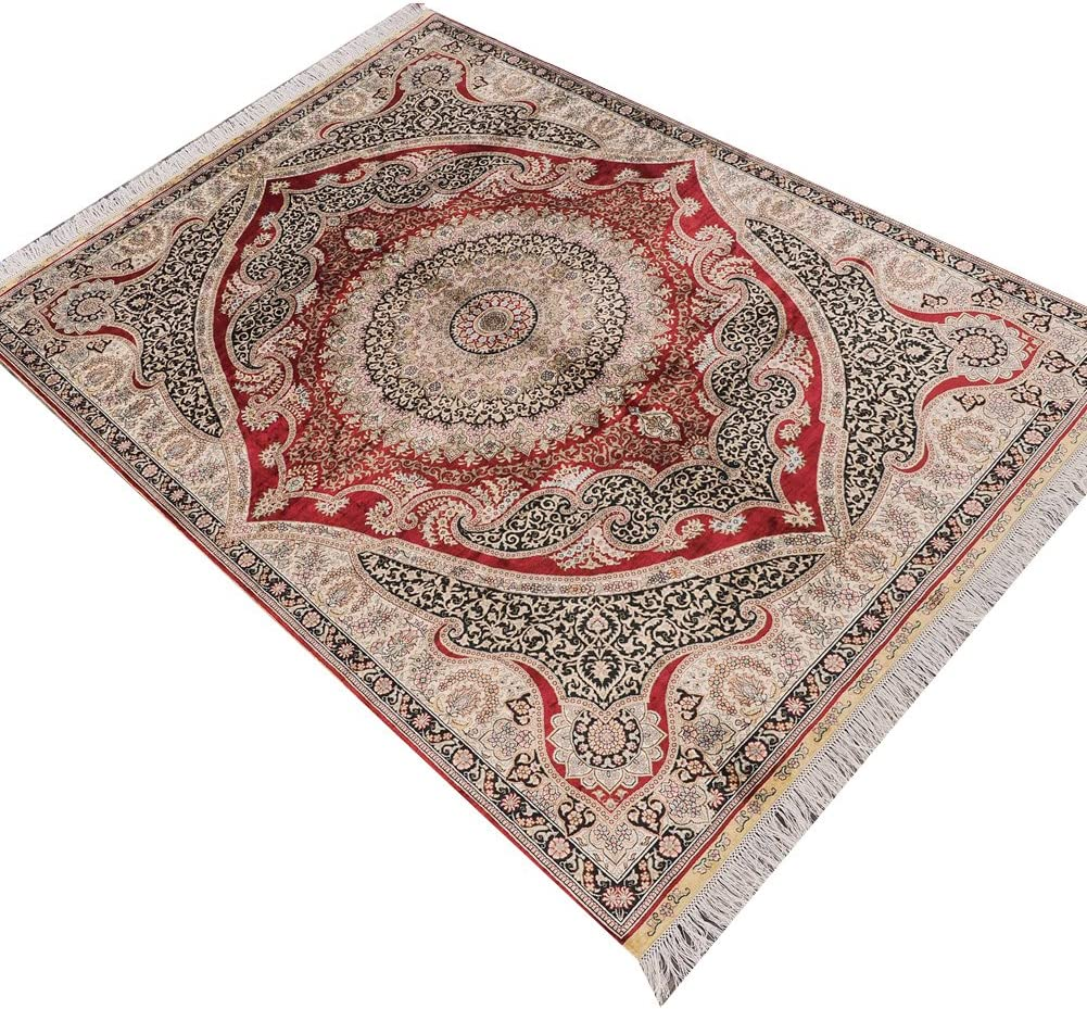 Amazon Com Camel Carpet Red Hand Knotted Oriental Persian Silk Area Rugs 5 X7 Home Kitchen