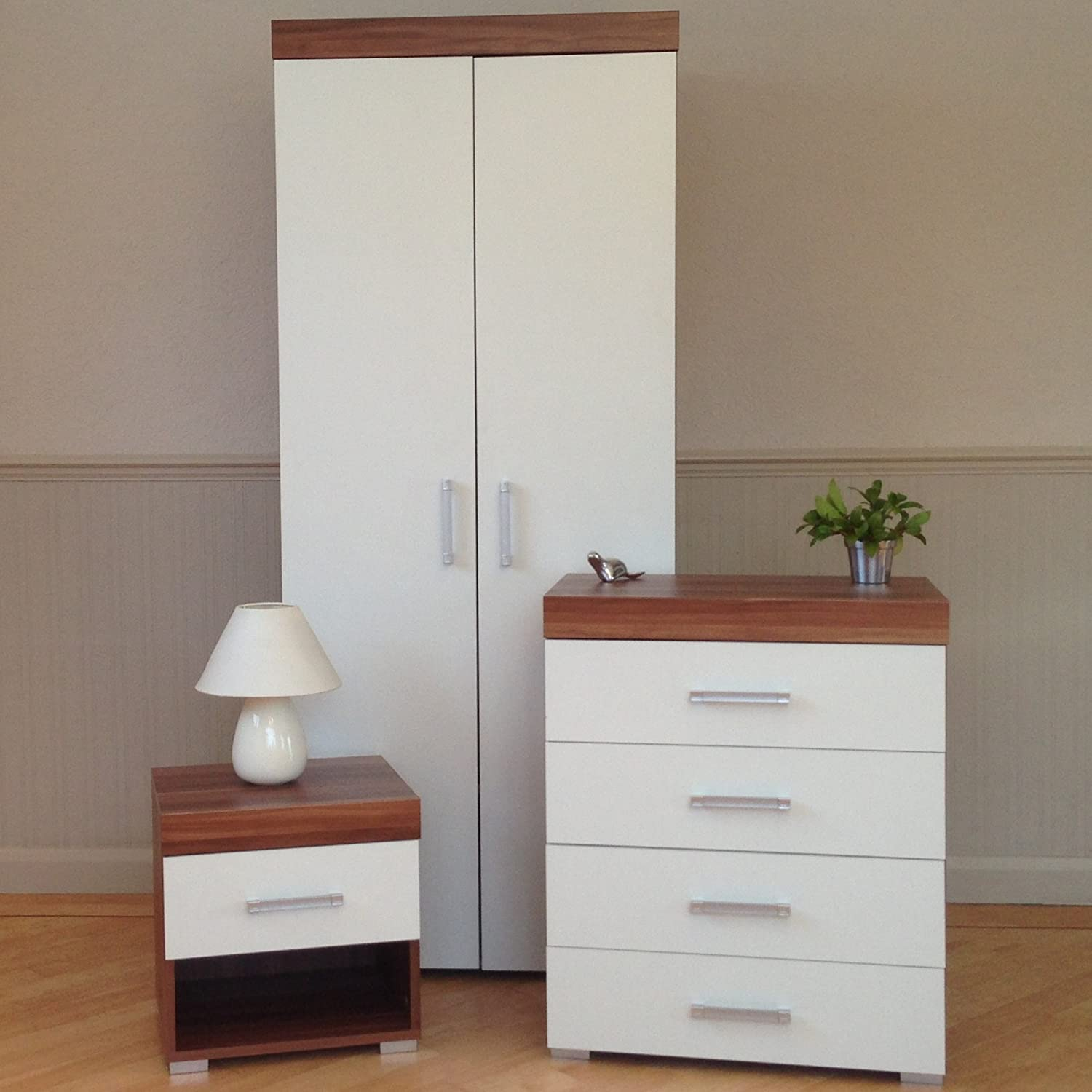 DRP Trading 3 Piece White & Walnut Bedroom Furniture Set! Wardrobe, 4 Drawer Chest, 1 Draw Bedside Table