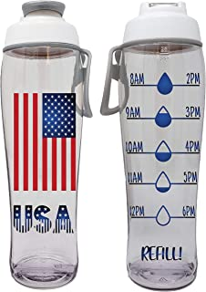 product image for 50 Strong BPA-Free Reusable Water Bottle with Time Marker, 30 Ounces