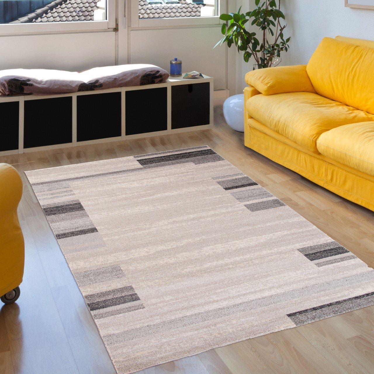 Tapiso Sari Teppich Kurzflor   Modern Teppiche in Designer Braun Dunkelbraun Beige mit Abstrakt Streifen Linien Muster   Perfekt für Wohnzimmer, Gästezimmer, Esszimmer   ÖKOTEX 160 x 220 cm B07CZ192FM Teppiche