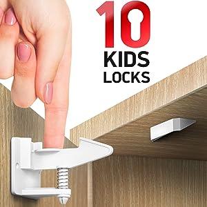 Kitchen Cabinet Locks Child Safety - 10 Pack Adhesive Child Proof Cabinet Locks - Baby Safety Cabinet Locks - Quick and Easy Child Locks for Cabinets and Drawers - Corner & Door Guards, Socket Covers