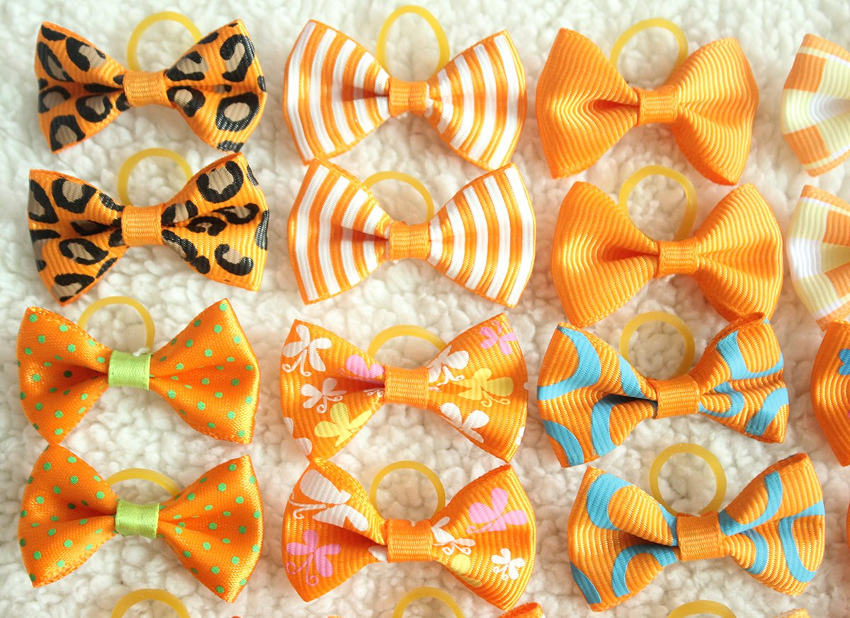 yagopet 40pcs/20pairs Small Dog Hair Bows Autumn Dog Bows Orange Dog Hair Bows Topknot Mix Designs Small Bowknot with Rubber Bands Pet Grooming Products Dog Hair Accessories by yagopet (Image #3)