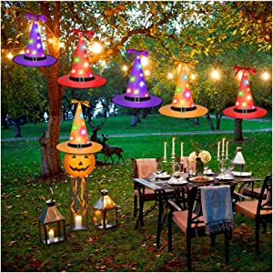 Halloween Witch Hat Lights, Halloween Decorations Outdoor Hanging Lighted Glowing Witch Hat, Lights String Decor for Garden, Party, Yard Decoration, 6Pcs