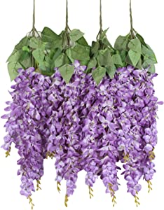 Duovlo Silk Wisteria Flower Artificial 2.13 Feet Hanging Wisteria Vine Fake Flower Bush String Home Party Wedding Decoration,Pack of 4 (Purple)