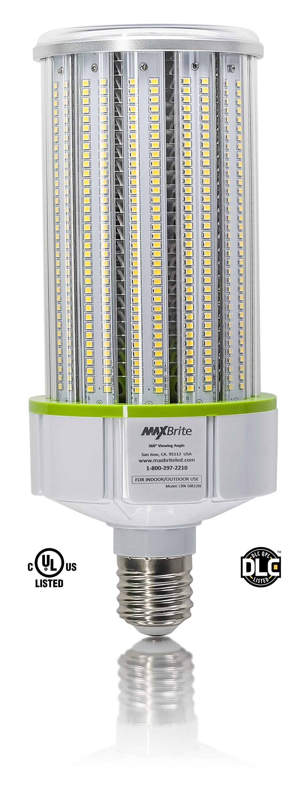 120W LED CORN LIGHT BULB 5000K Replaces 800W, 13,800 lumens Mogul Base E39, 100-277V AC UL/cUL DLC by MaxBrite