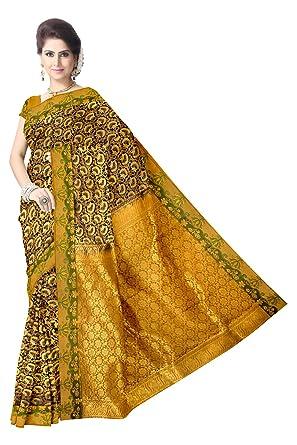 0b41bf5b0470a6 Amazon.com: A Black brocade floral zari work handloom pure silk saree:  Clothing