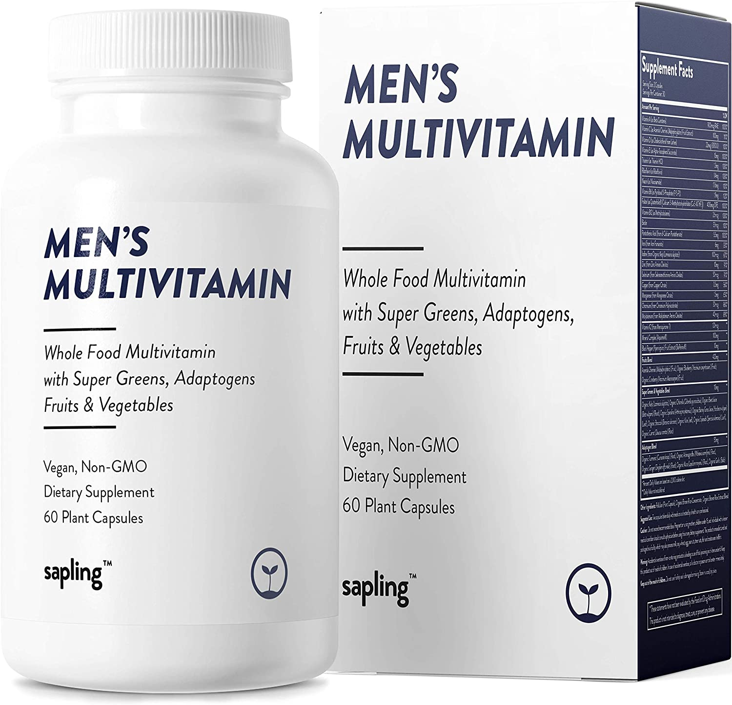 Multivitamin for Men Daily Supplement - with Whole Food Vitamins, Plant-Based, Organic Fruits and Vegetables. Vitamin A, B Complex, C, D3, E, K2 Black Pepper. Vegan and Non-GMO - 60 Capsules