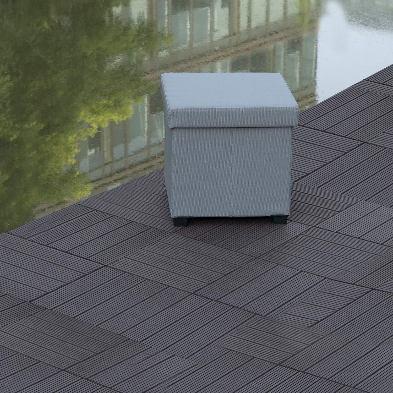 Piscine E-starain Sets de dalles de terrasse bois composite WPC Jardin,Dalles Clipsables pour Jardin Balcon 30 * 30 * 1cm 11 pi/èces Gris clair