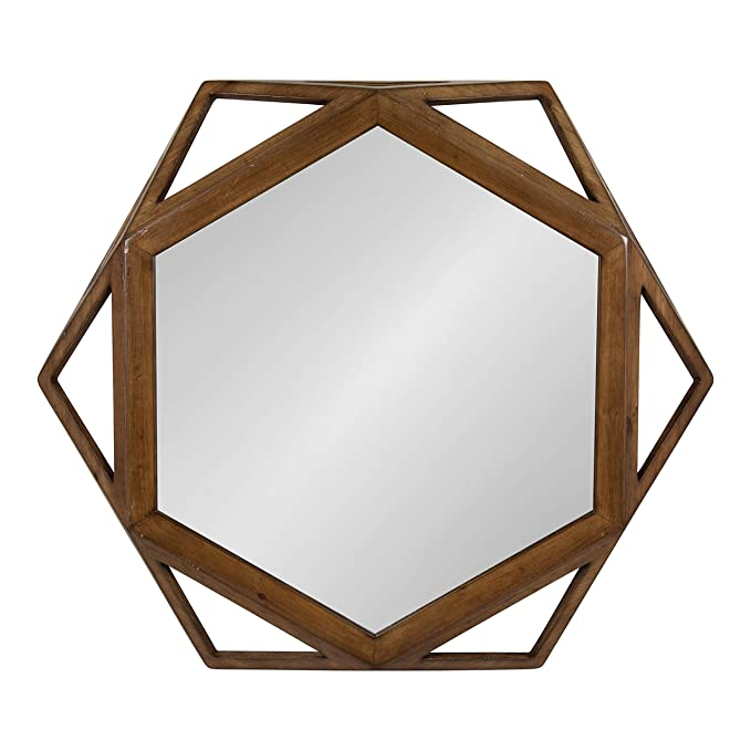 Kate and Laurel Cortland Rustic-Modern Geometric Octagon Shaped Wood Accent Wall Mirror, Rustic Caramel Finish, 24x27-inches