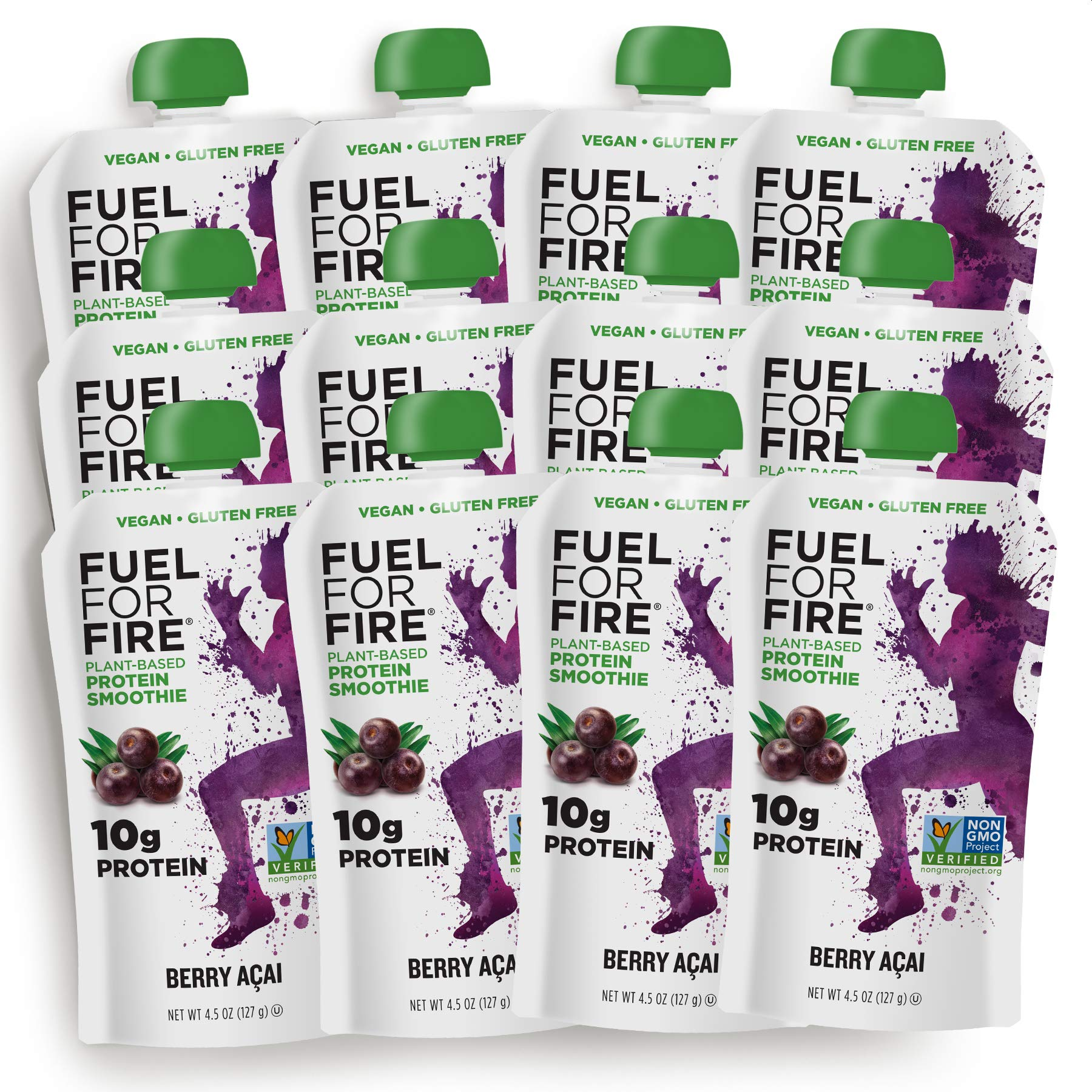 Fuel For Fire - Vegan Berry Acai (12 Pack) Fruit & Plant-based Protein Smoothie Squeeze Pouch | Great for Workouts, Kids, Snacking - Gluten-Free, Soy-Free (4.5 ounce pouches) by FUEL FOR FIRE