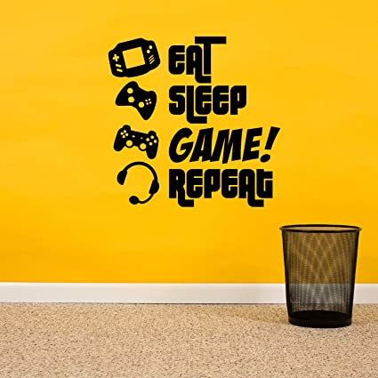 Amazon.com: EAT, SLEEP, GAME, REPEAT - Gamers Wall Art Vinyl Decal ...