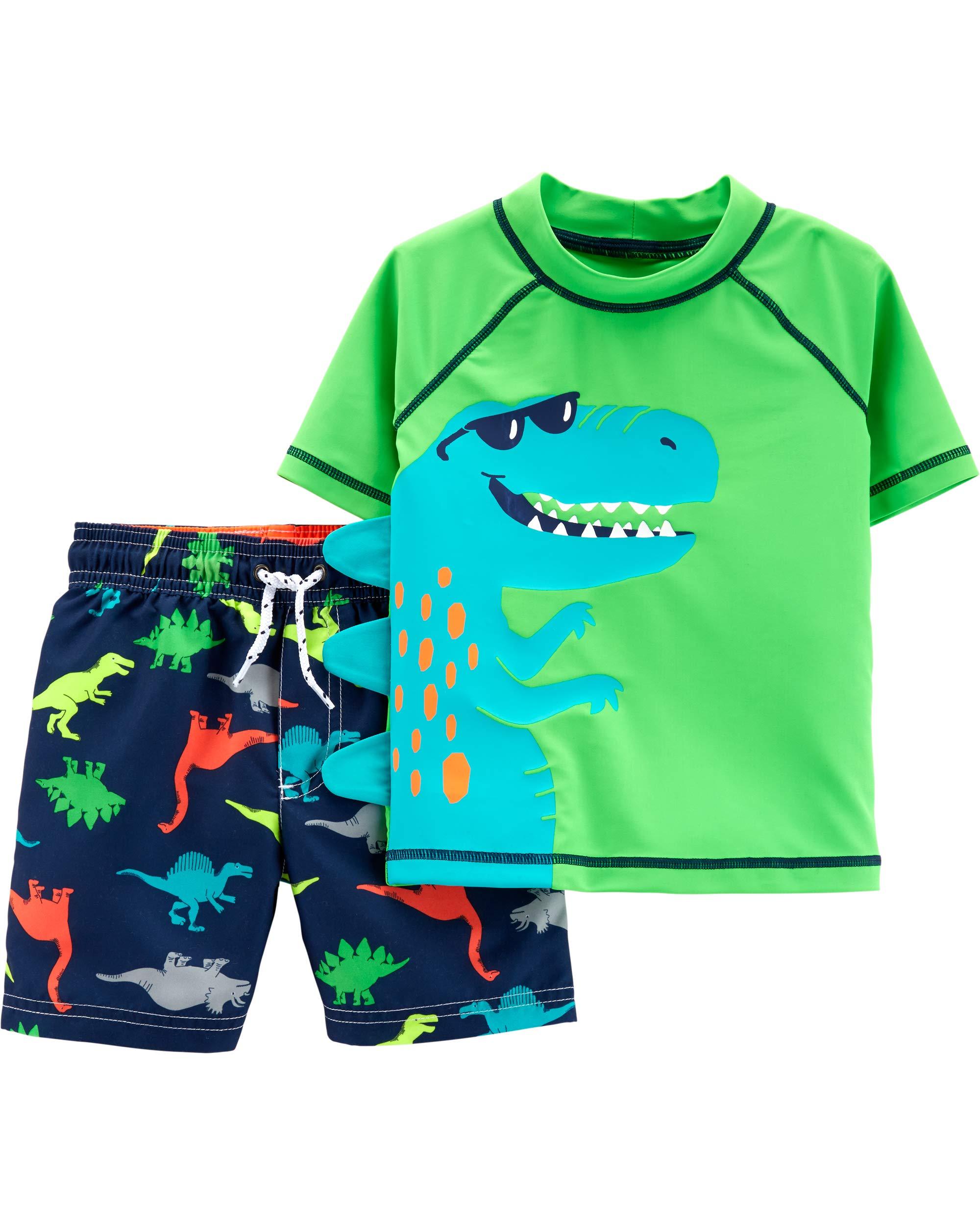 Carter's Toddler Boys' Rashguard Swim Set, Dinosaur, 3T