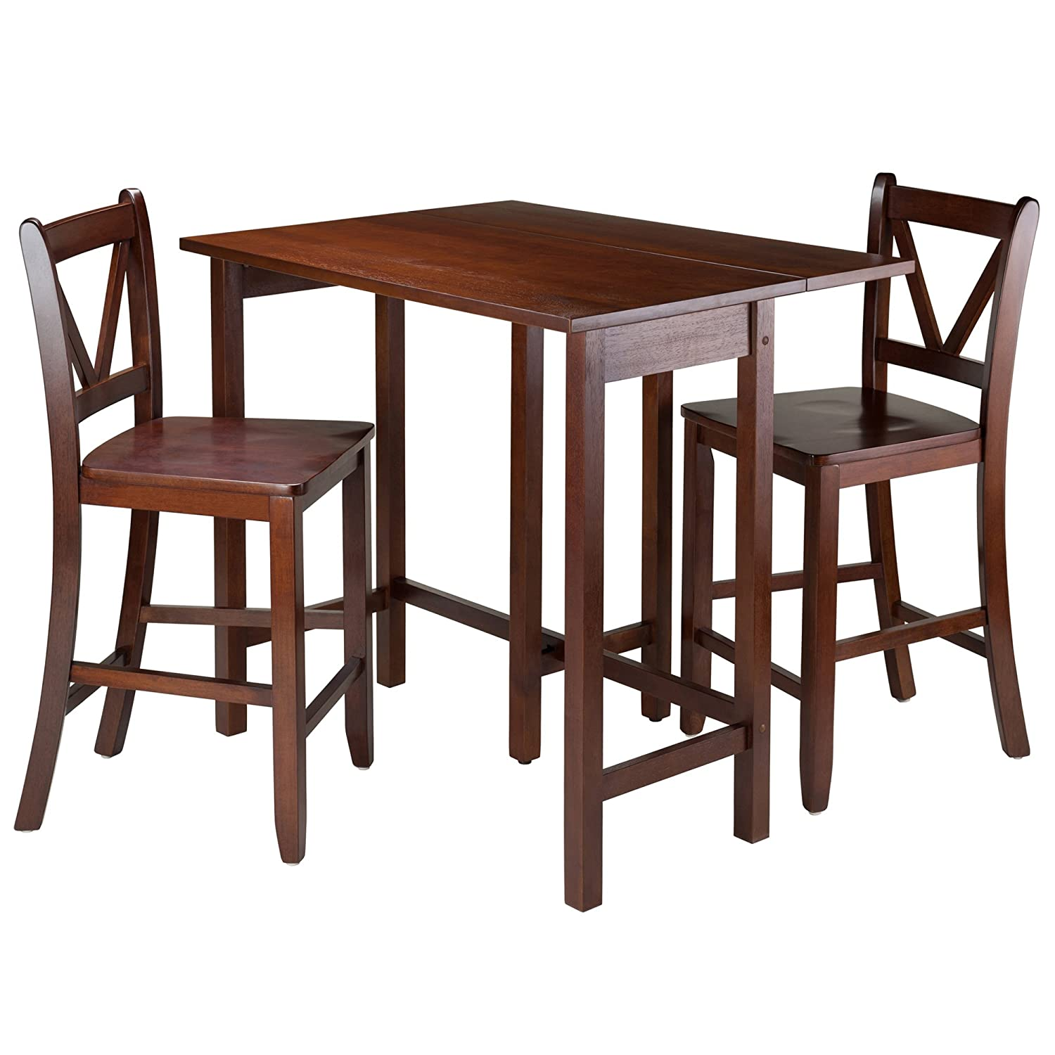 Winsome 94355 Lynnwood Collection 3 Piece Drop Leaf Table with 2 Counter V-Back Stools Brown