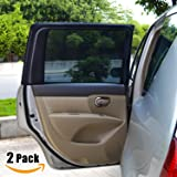 Carmoni Car Side Window Sun Shade - Car Sunshade Protector - Universal Fit Slip On Stretchable Mesh Protective For SUV's- Protect your kids and pets in the back seat from sun glare and heat - 2 Pack