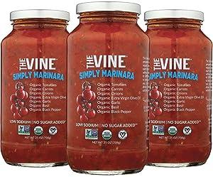 The Vine Organic Simply Marinara, 3-pack, Low Sodium, Low Carb, Non GMO, Kosher