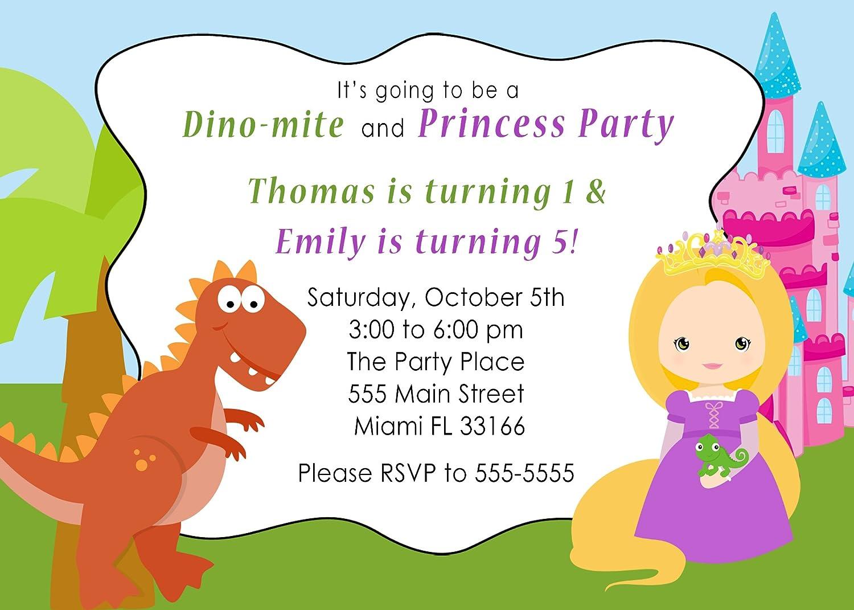 Amazon.com: 30 Invitations Dinosaur Blonde Princess Twins Brother ...