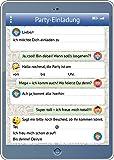 Inviti del telefono/tablet (set 2): 12Set di Divertente/tabletei ladungs carte con messaggio whatsapp e Smileys/Emojis compleanno per bambini o alla festa di Edition Colibri© (10730)