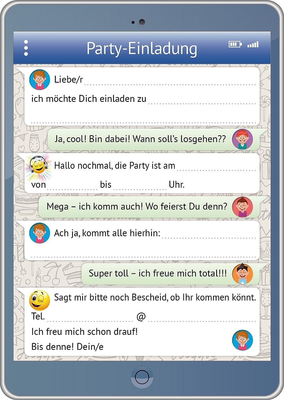 Schön Handy /Tablet Einladungen (Set 2): 12 Er Set Lustige  Handy /TabletEinladungskarten Mit WhatsApp Nachricht Und Smileys / Emojis  Zum Kindergeburtstag Oder Zur ...