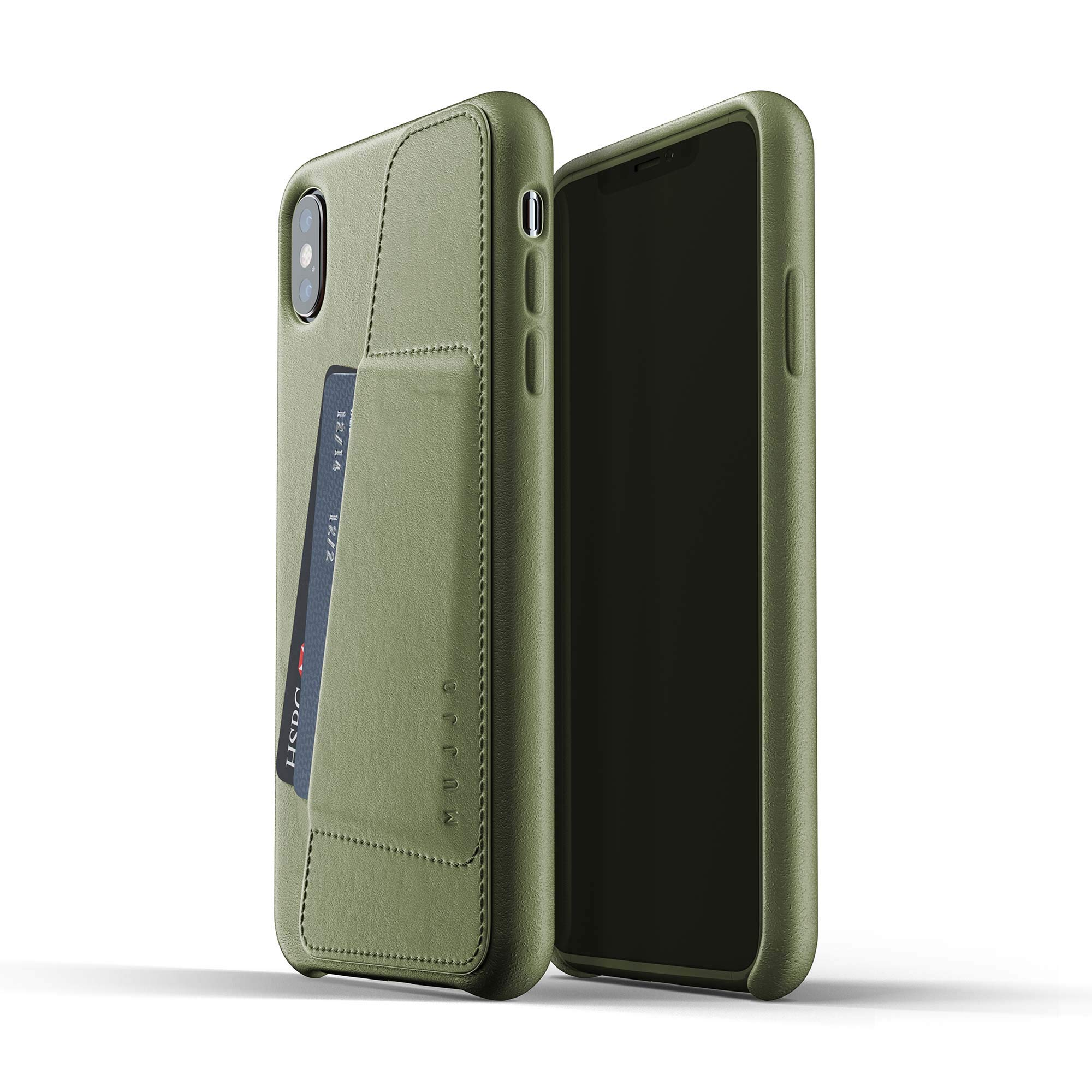 Mujjo Full Leather Wallet Case for iPhone Xs Max   Premium Genuine Leather, Natural Aging Effect   Pocket for 2-3 Cards, Wireless Charging (Olive) by Mujjo