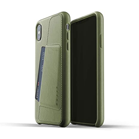 Mujjo Full Leather Wallet Case for iPhone Xs Max | Premium Genuine Leather, Natural Aging Effect | Pocket for 2-3 Cards, Wireless Charging (Olive)