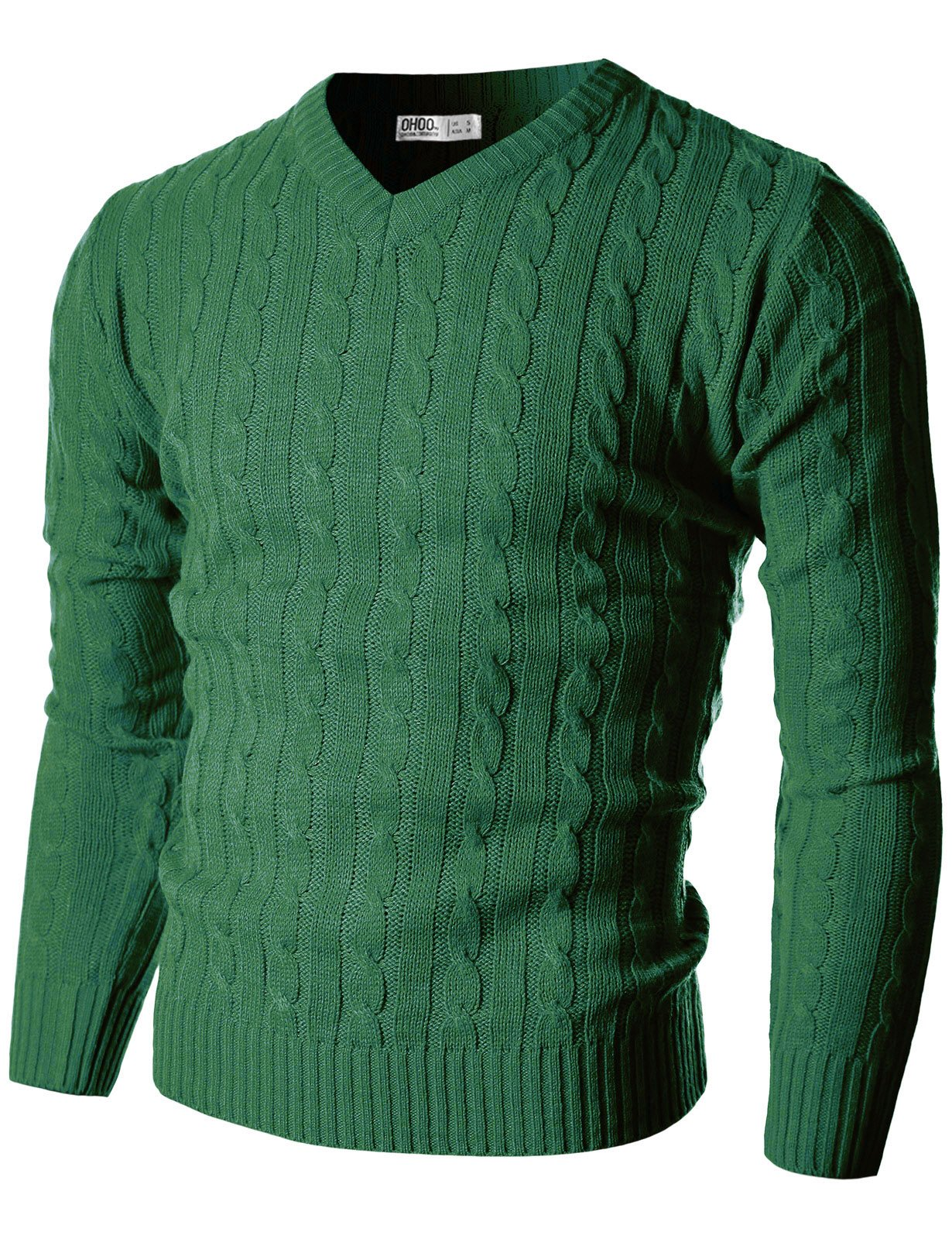 Ohoo Mens Slim Fit Cable Knit Long Sleeve V-Neck Pullover Sweater/DCP013-GREEN-L