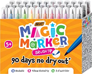 BIC Magic Marker, Brush Tip Marker, Assorted Colors, 36-Count