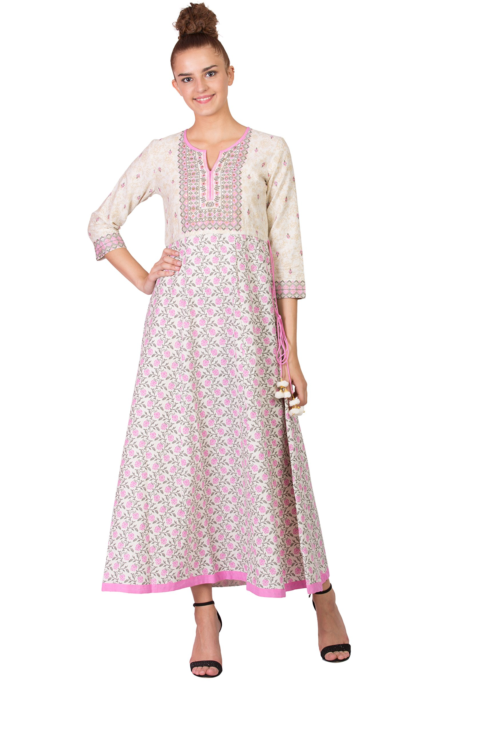 SABHYATA Women Kurta Designer Ethnic Long Dress Casual Tunic Kurti for Women Ladies Partywear Material 100% Pure Cotton Neck Type Round Neck X-Large Beige/Pink