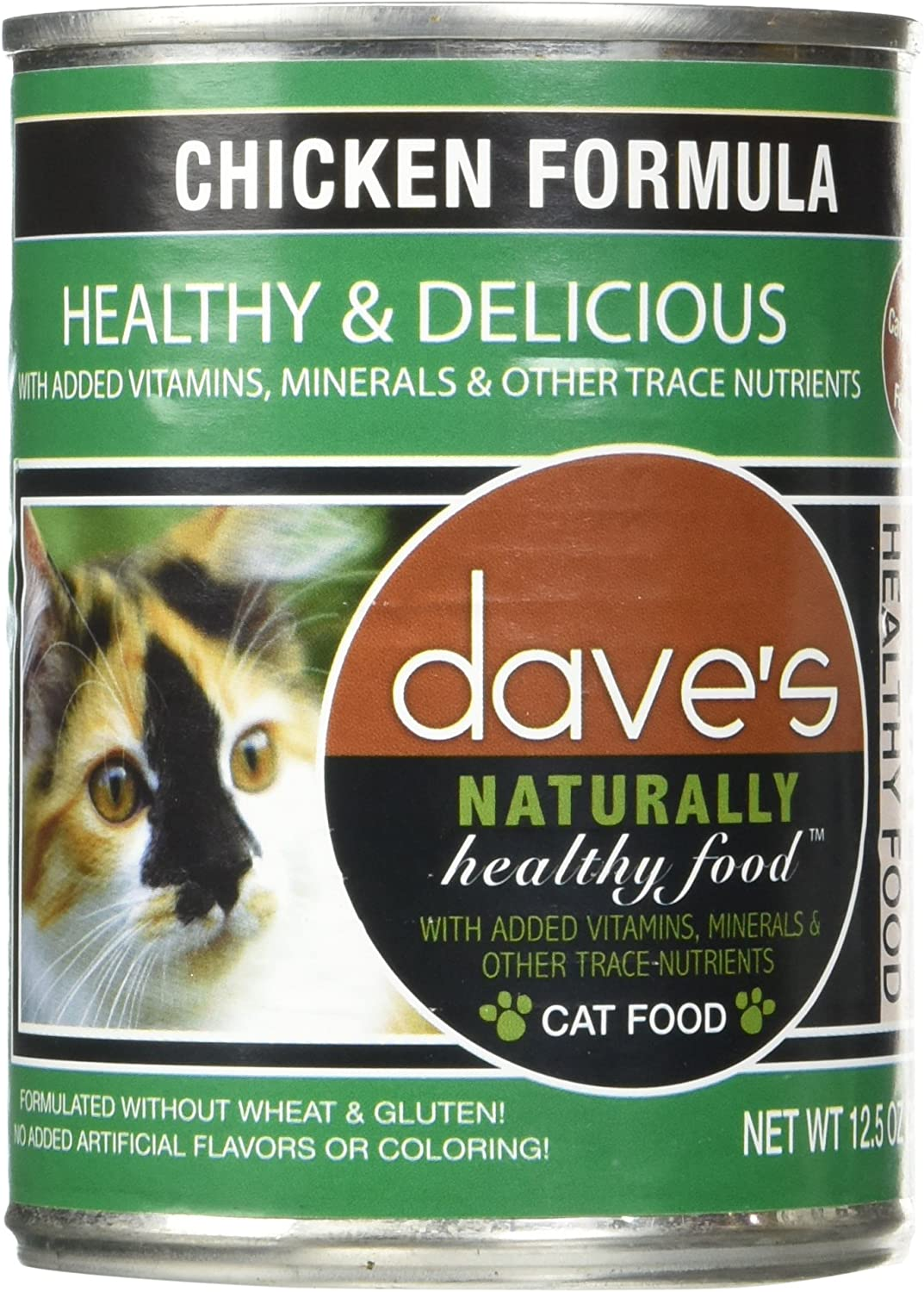 Dave's Naturally Healthy Chicken Formula For Cats - Canned Cat Food - 12.5 Ounce Cans, Case of 12