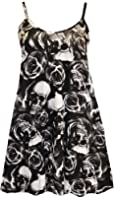 FashionMark Womens Plus Size Strappy Skull Rose Print Flared Swing Dress Top Vest
