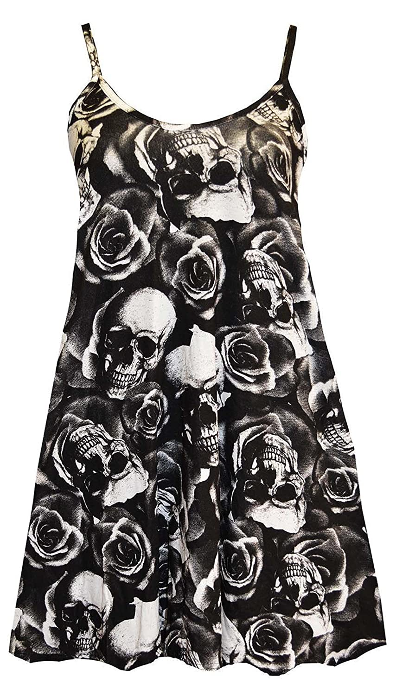 FashionMark Women's Skull Rose Print Camisole Flared Dress