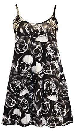 d2dfd0f043100 Amazon.com  FashionMark Womens Plus Size Strappy Skull Rose Print Flared  Swing Dress Top Vest  Clothing