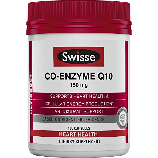 Swisse Ultiboost CoQ10 Co-Enzyme Q10, 180 Count, Heart Health and Antioxidant Support