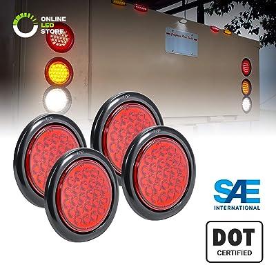 "4pc 4"" Red Round LED Trailer Tail Light Kit [DOT FMVSS 108] [SAE STI] [24 LED] [Grommet & Plug Included] [IP67 Waterproof] [Stop Turn Tail] Trailer Brake Lights for Boat Trailer RV Trucks: Automotive"