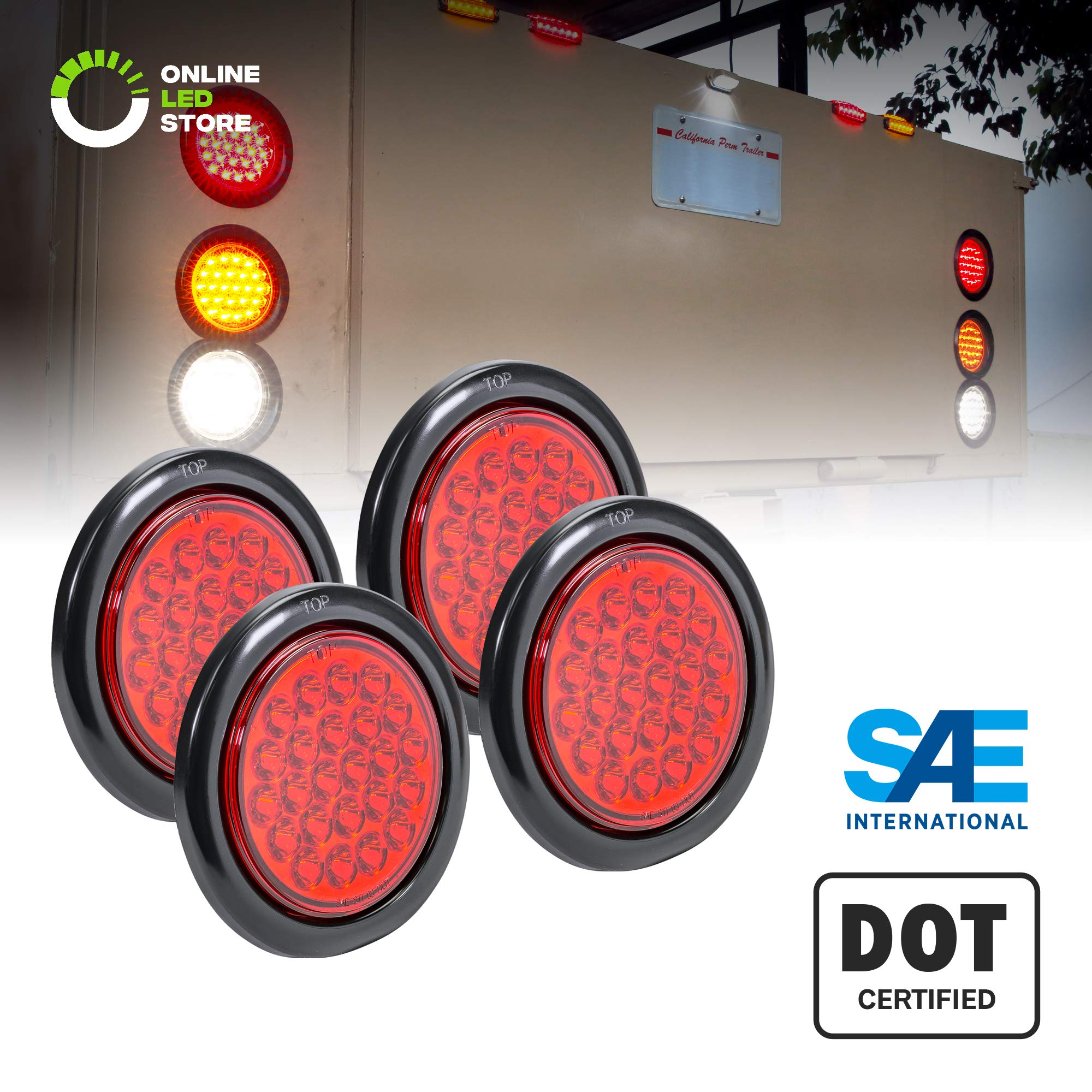 4pc 4'' Round Red 24 LED Trailer Tail Lights [DOT Certified] [Grommet & Plug Included] [IP67 Waterproof] Turn Stop Brake Trailer Lights for RV Jeep Truck by ONLINE LED STORE