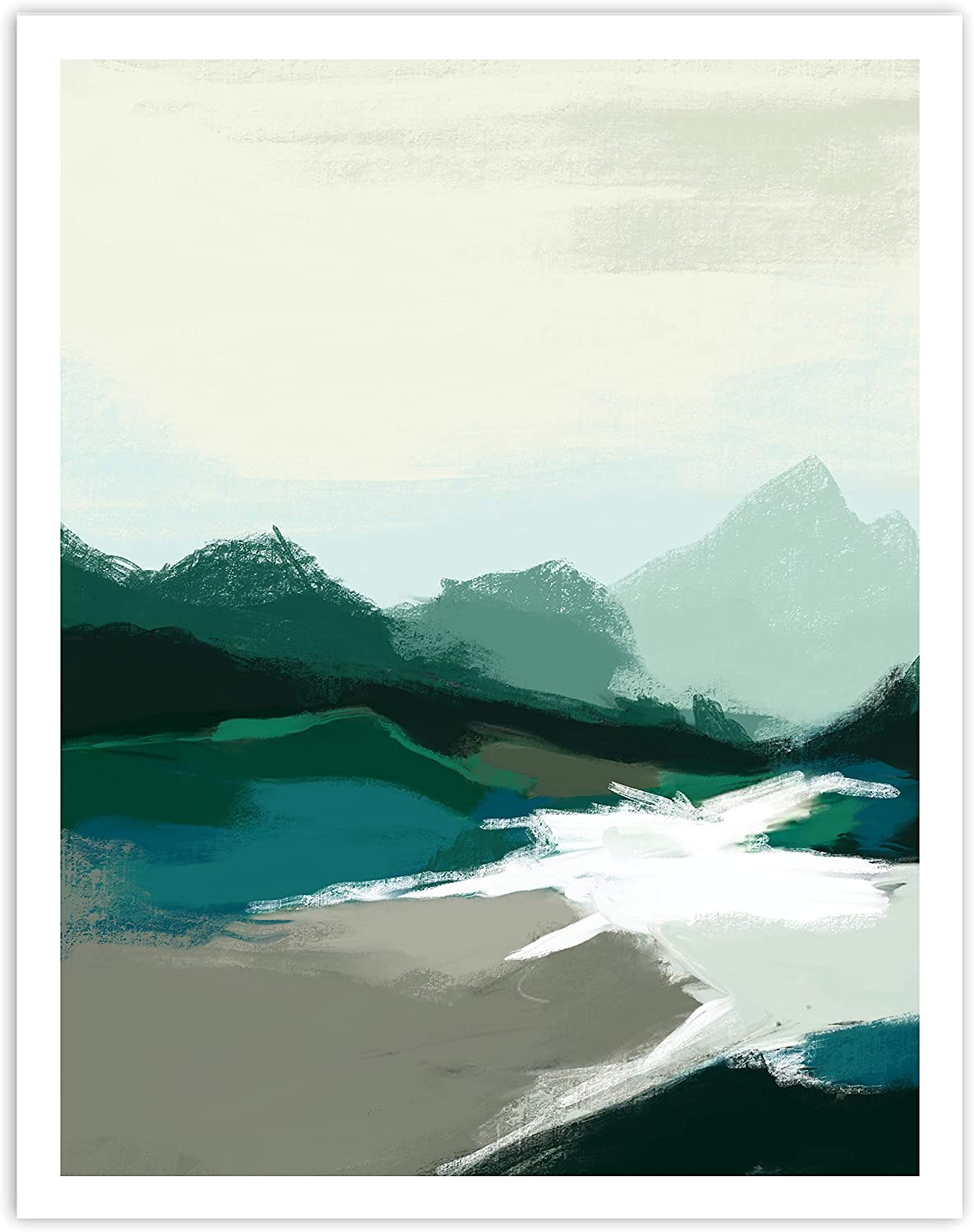 Printsmo, Abstract Blue and Cream Landscape Art Print, Modern and Minimalist Art Prints for Home Decor, Boho Style Wall Art Poster, Neutral Bohemian Decor, 11x14 Inches, Unframed