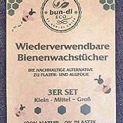 bun-di ECO 3er Set Wiederverwendbare Bienenwachst/ücher als umweltfreundliche Frischhaltefolie Nachhaltige Alternative zu Alu plastikfreie Lebensmittelverpackung 3er Set und Plastikfolie