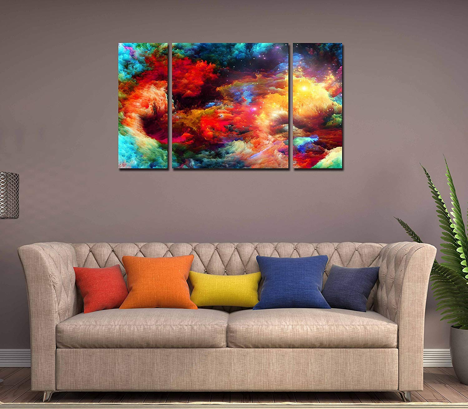 Rabhya International 3 Piece Abstract Wall Art Colorful Canvas Wooden Framed  Painting- Size(24x14 inch)-D-3: Amazon.in: Home & Kitchen