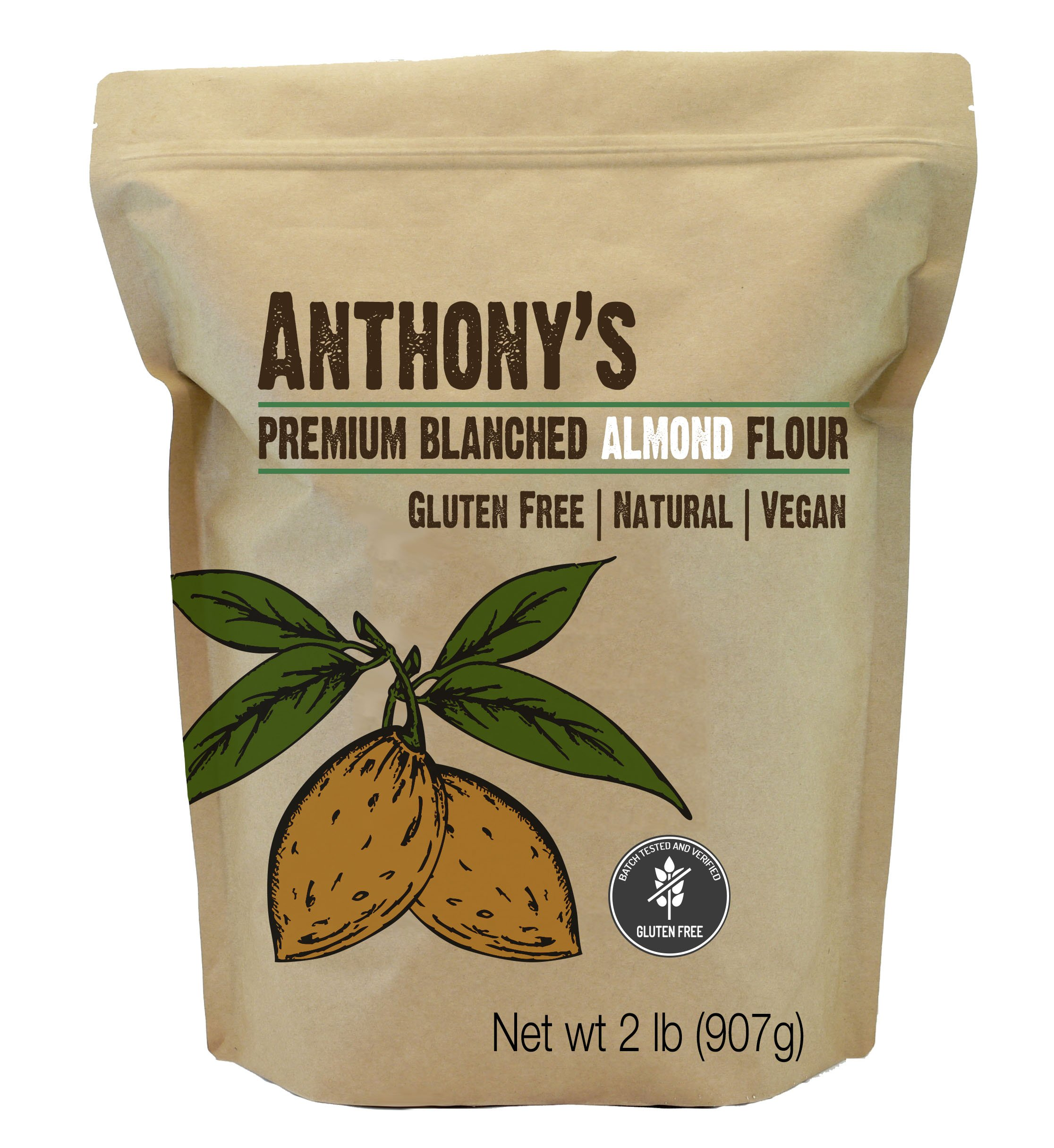 Almond Flour Blanched (2lb) by Anthony's, Batch Tested Gluten-Free