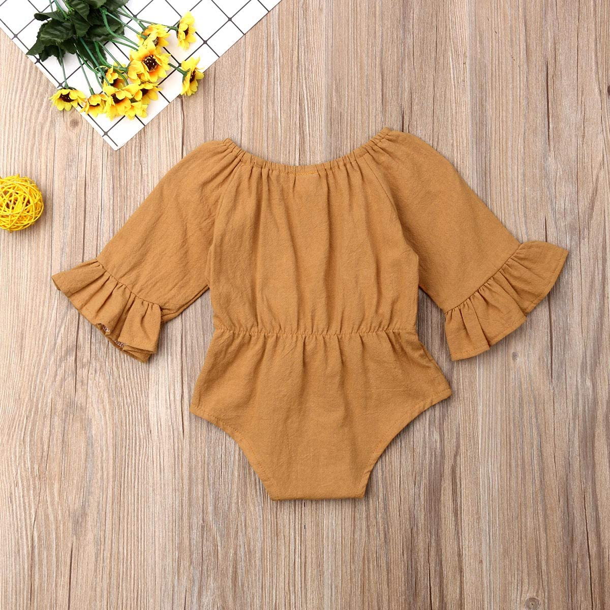 zeyan97 Newborn Infant Fall Outfits Jumpsuit Solid Color Long Sleeve Bow Ruffled Newborn Autumn Outfit