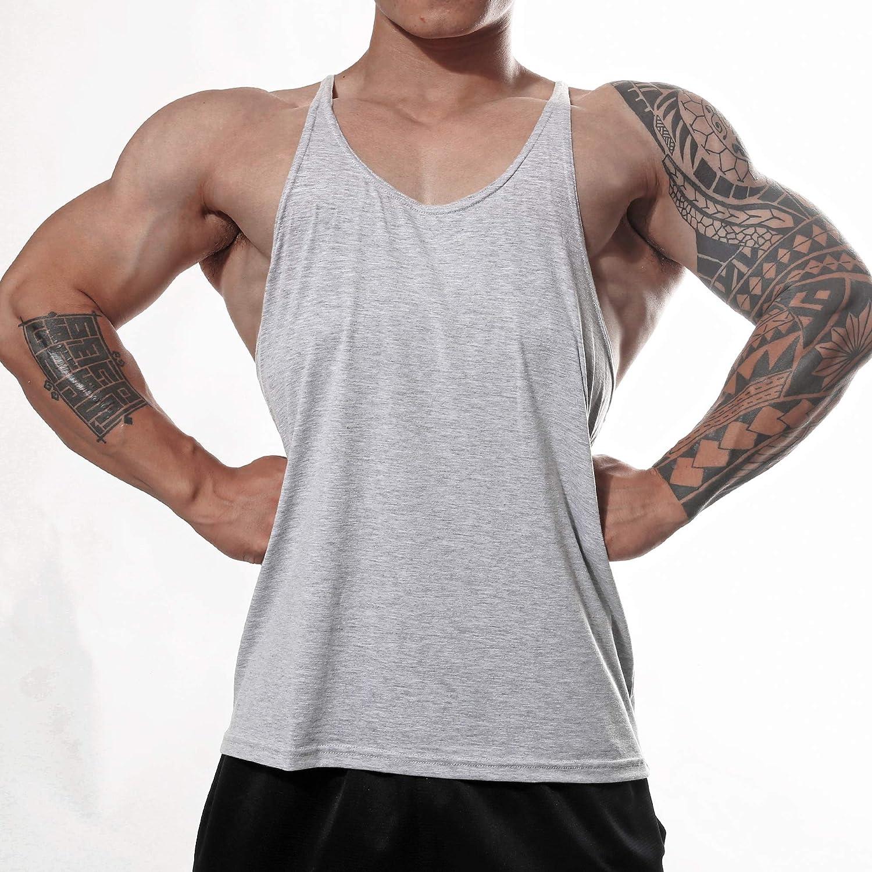 Manstore Mens Gym Stringer Tank Top Bodybuilding Athletic Workout Muscle Fitness Vest