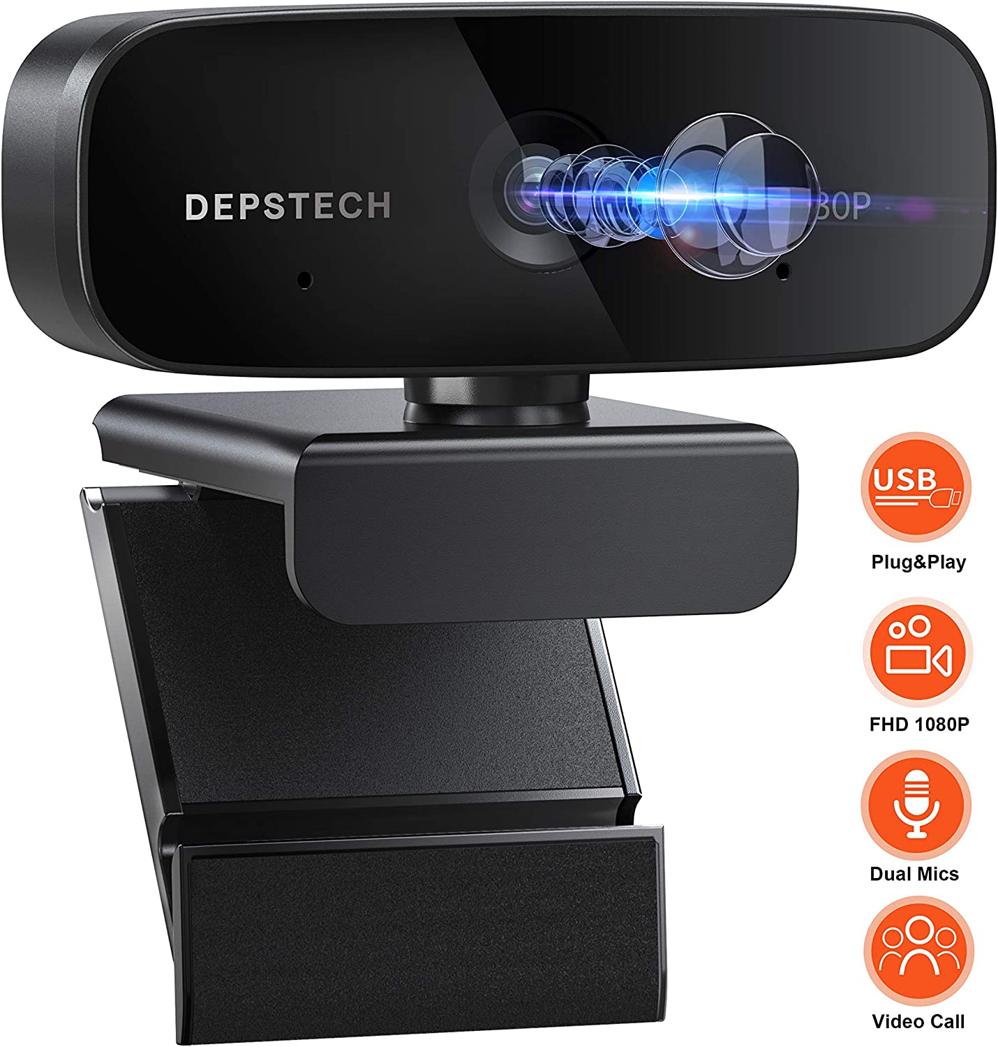 Webcam with Microphone, DEPSTECH 1080P Desktop Laptop Computer Web Camera with Stereo Microphone, USB Plug and Play,for Video Streaming, Conference, Gaming, Online Classes