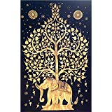 Your Spirit Space (TM Black/Gold Good Luck Elephant Tapestry-Tree of Life. Quality Home or Dorm Hippie Wall Hanging. The Ultimate Bohemian Tapestry Decoration