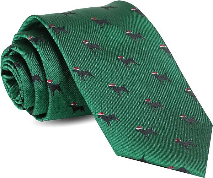 Christmas Trees Men/'s Neck Tie Holiday Stars Green Tree Classic Black Necktie