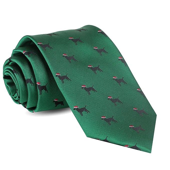5ef4fe9b972c Amazon.com: Christmas Ties For Men: Mens Woven Black Lab Dog Necktie Green  Holiday Twill Tie: Clothing