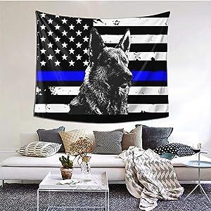 KOUSHANAIER K9 German Shepherd Police Dog Tapestry Wall Hanging Thin Blue Line USA Flag Tapestries Wall Art for Bedroom Living Room Dorm Home Decor (60''W x 51''H)