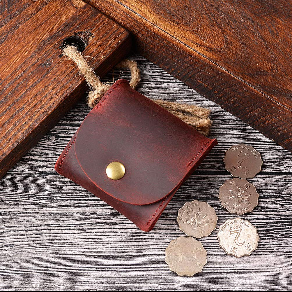 Juland Rustic Leather Moon Pocket Coin Case Genuine Leather Squeeze Coin Purse Pouch Change Holder Tray Purse Wallet for Men /& Women Dark Red